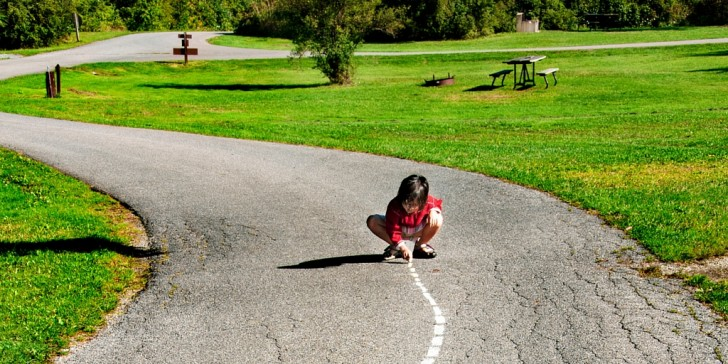 Child drawing road